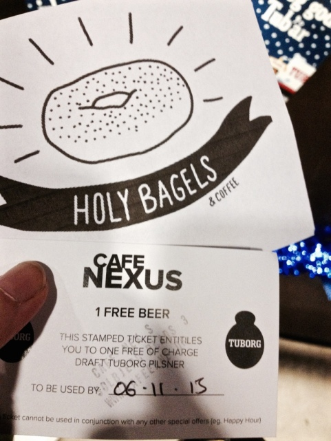 Voucher for bagel and beer
